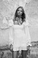 For Love And Lemons Crema Silk Linen Dress, S