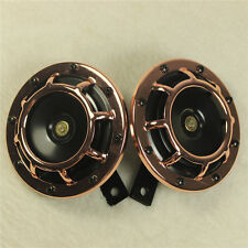 2 PCS ROSE GOLD SUPER LOUD ELECTRIC BLAST TONE HORN MOTORCYCLE CHOPPER 12V