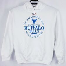 Buffalo Bulls New York White Hoodie Sweatshirt Blue Logo Unisex Size Small New