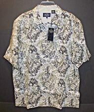 Nat Nast Mens Beige Paisley 100% Linen S/S Button-Front Shirt NWT $155 Size L