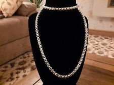 round curb Necklace with gift box Brand new 925 stamped Silver plated