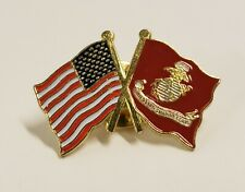 Marine Corps American Crossed Flags Lapel Pin Military Veteran Usmc Us Flag