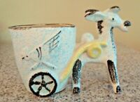 Rare Collectible Vintage Textured Glaze Donkey Jackass Road Runner Cart Planter