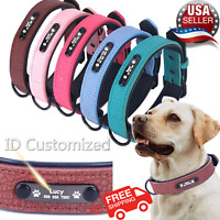 Personalised adjustable Collars Soft Leather Customized ID Name For Pet Dog Cat.