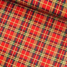 100% Cotton Fabric Christmas Xmas Gold Stripe Tartan Festive 135cm Wide