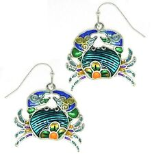 Crab Earrings Blue Enamel Womens Silver Fashion Jewellery 25mm Gift Boxed