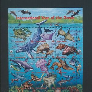 XC89291 United Nations 1998 fish shell ocean year sealife XXL sheet MNH