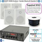 SMART HOME Outdoor Bluetooth White Speaker Kit Karaoke Stereo Amp Garden BBQ
