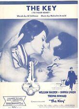 """""""THE KEY"""" WILLIAM HOLDEN/SOPHIA LOREN/TREVOR HOWARD SHEET MUSIC-1958-RARE-NEW!!"""