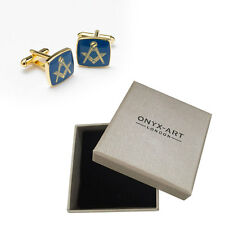 Mens Blue & Gold Masonic Masons Cufflinks & Gift Box By Onyx Art