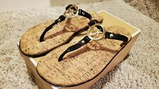 MICHAEL KORS MK Logo charm Jelly PVC Thong gold black Cork Sandals Size 7M