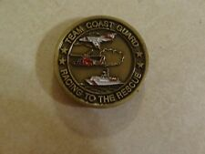 CHALLENGE COIN TEAM COAST GUARD RACING TO THE RESCUE WITH FREE PATCH USCG NSF