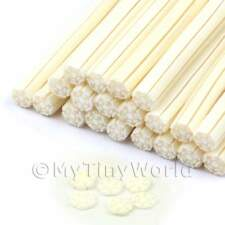 3x White Christmas Snowflake Nail Art Canes (enc15)