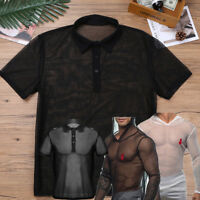 UK Men Mesh T Shirts See Through Muscle Fishnet Tank Tops Sexy Tight Crop Shirts