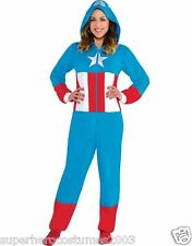 Captain America Dream Costume Cozie Jumpsuit Pajamas Marvel Comics Size Large-XL