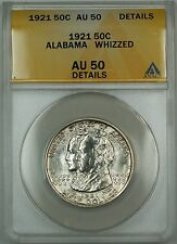 1921 Alabama Commemorative Silver Half Dollar Coin ANACS AU-50 Details Whizzed