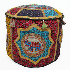 "INDIAN Handmade 20"" Bean Bag Cover Elephant Patch Fabric Cotton Pouffe Textile"