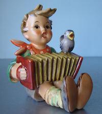"Hummel Goebel Lets Sing Hum#110/I Tmk5 Boy with Accordion & Bird 3.75"""