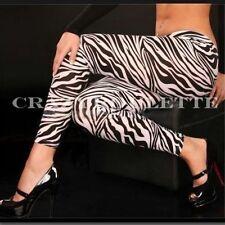 Sexy Damen Zebra Stretch Jeggings Leggings Strumpfhose Schwarz Jeans S/M