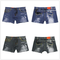 Denim Boxer Briefs Comfy Sexy Men's Underwear Pouch Bulge Shorts Underpants