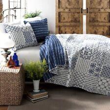 Quilt Set King Comforter Bed Cover Patchwork Pattern Navy Blue White Bedding