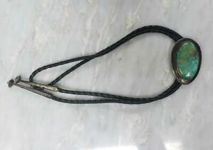 """Vintage Black Leather Sterling Silver Turquoise Bolo Tie Clasp ~ 36"""" ~ 7-F1279"""
