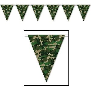ARMY MILITARY CAMOUFLAGE BUNTING FLAG BANNER FOR BIRTHDAY PARTIES!