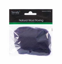 TRIMITS Natural 100% Wool Roving For Needle Felting 10g - PLUM