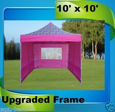 10'x10' Pop Up Canopy Party Tent EZ - Pink Zebra - F Model Upgraded Frame