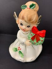 VINTAGE JOSEF ANGEL GIRL WITH CHRISTMAS WREATH FIGURINE JAPAN