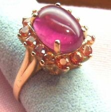 14k Solid Yellow Gold Carnation color Tourmaline 3mm Round Padparadschah RingM18