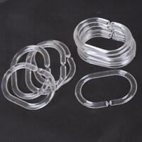 12pcs Plastic Clear C Type Bathroom Shower Curtain Liner Hook Hooks Rings_BB