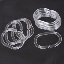 12pcs Plastic Clear C Type Bathroom Shower Curtain Liner Hook Hooks Rings UHK