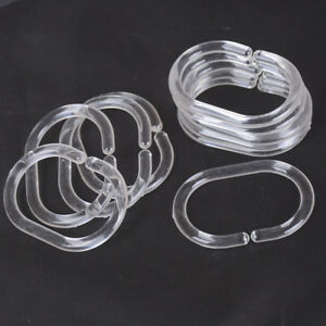 12pcs Plastic Clear C Type Bathroom Shower Curtain Liner Hook Hooks Rin_cd