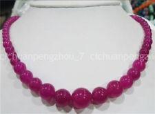 "natural 6-14mm Rose Alexandrite Gemstone Round Beads Necklace 18"" beautiful 1673"