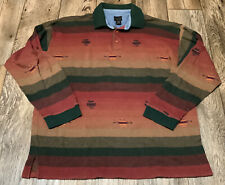 Vtg Structure Mens Rugby Style Polo Southwest Print Shirt 90's Large Great Cond!