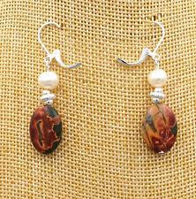 NATURAL MULTI-COLORED PICASSO JASPER GEMSTONE OVAL + akoya Pearl Earrings