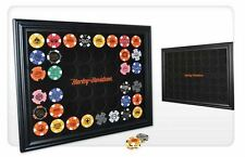Harley-Davidson® 48 Dealer Poker Chip Collectors Black Wood Display Frame 6958D