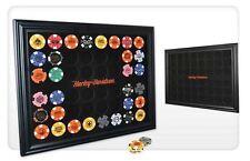 Harley-Davidson® 48 Poker Chip Collectors Black Wood Display Frame 6958D