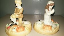 House Of Lloyd Pilgrims Giving Thanks Taper Candle Holders Thanksgiving Pair