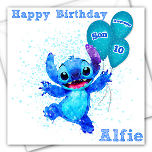PERSONALISED STITCH BIRTHDAY CARD Any Recipient or Name & Age Lilo & Stitch Son