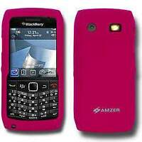 AMZER Hot Pink Silicone Soft Skin Back Case Cover for Blackberry Pearl 9105 9100