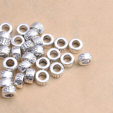 50Pcs Tibetan Silver Tube Charms Spacer Beads Jewelry Findings 7MM