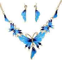 EG_ Women's Butterfly Shaped Choker Chain Necklace Earrings Jewelry Set Handy