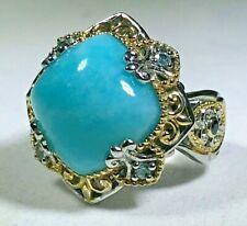 Gems En Vogue Larimar with Topaz Accent Ring - Size 6