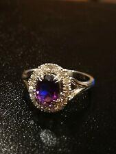 14ct Diamond & Amethyst Cluster Ring Size M