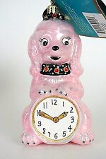 Christopher Radko Pink Poodle w/ Clock Hanging decorative Ornament Tag+Box *1016