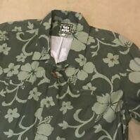 TOES ON THE NOSE Men's dark & Light Floral Hawaiian Aloha Shirt  XL