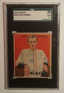 1933 Goudey #234 Carl Hubbell (HOF) SGC 20 FAIR 1.5 Giants, Always Free Shipping