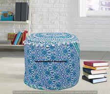 Round Mandala Ottomans Cover Indian Poufs Seat Sham Boho 22'' Footstools Decor